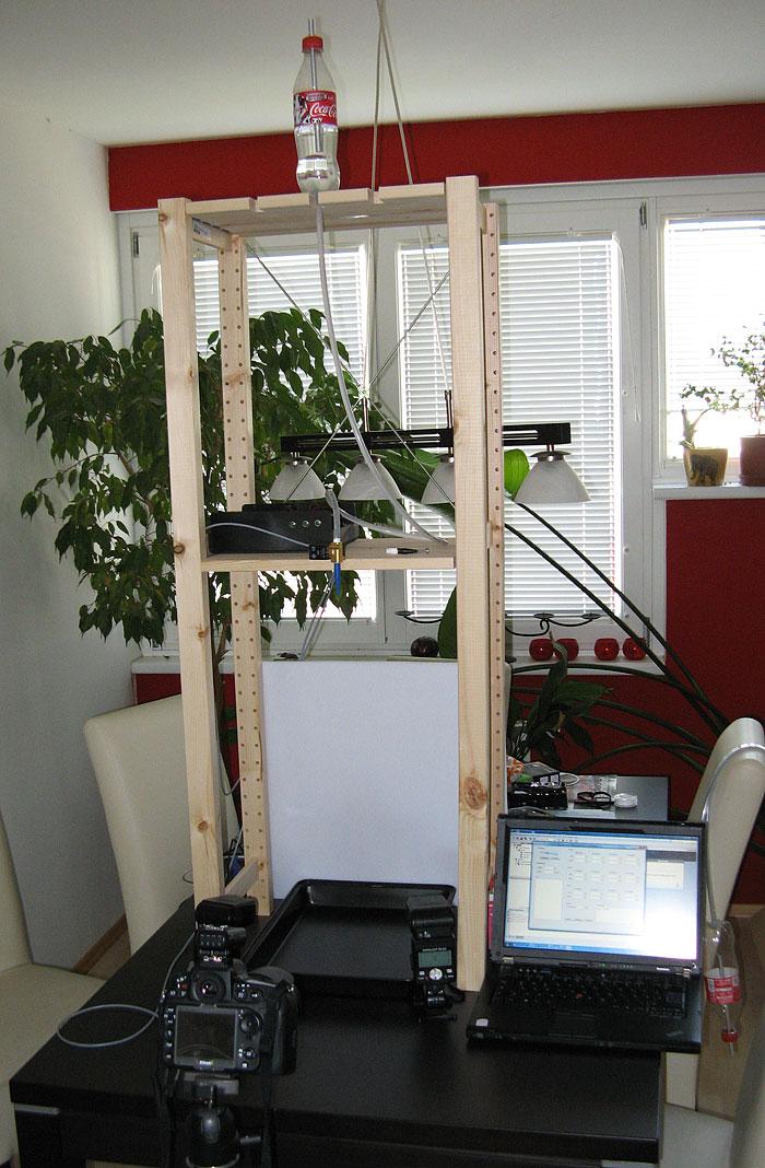Kompletter Aufbau mit Mariottesche Flasche, Arduino, Ventil und Kamera
